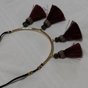 Tassel choker tie necklace